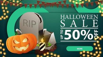 Halloween sale, green modern volumetric web banner with large circle, tombstone and pumpkin Jack vector