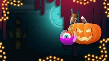 Halloween background for your creativity with night landscape, pumpkin Jack and witch's potion vector