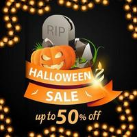 Halloween sale and discount week, discount banner with orange ribbon, up to 50 off, ribbon with tombstone and pumpkin Jack vector