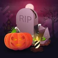 Halloween postcard. Tombstone and pumpkin Jack against the pink landscape with full moon vector