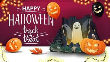 feliz halloween, truco o trato, postal de saludo púrpura horizontal con globos de halloween, guirnalda, portal con fantasmas y calabaza jack vector