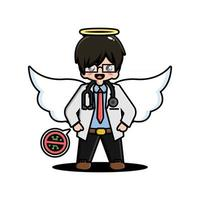 Cute doctor is an angel with a stop virus symbol vector