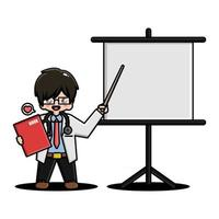 Cute doctor presenting with projector vector