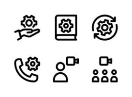 Simple Set of Help and Support Related Vector Line Icons. Contains Icons as System Configuration, Manual Book, Video Call and more.