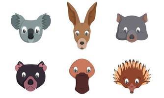 conjunto de cabezas de animales australianos. vector