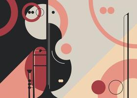 Banner template with trumpet and violin. vector