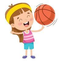 Little Kid Playing Basketball vector