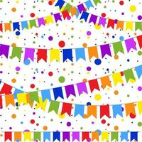 Set of six flat colored garlands isolated in the form of flags on a rope. On the background of colorful confetti. Suitable for design. vector