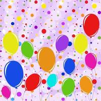 Set of flat colored isolated flying balloons on ropes. Against a background of multi-colored round confetti of various sizes falling from the sky. Suitable for design. vector