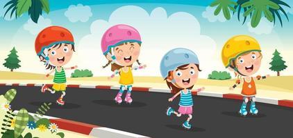 niños pequeños montando patines vector