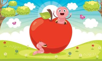Red Apple And Cute Worm Cartoon vector