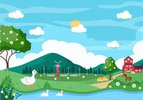 Cute Cartoon Farm Animals Illustration vector