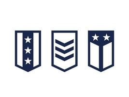 Military ranks, army epaulettes on white vector