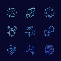 microbes, viruses and bacteria icons, line vector set