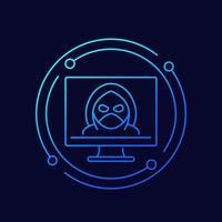 Hacker, cyber crime line vector icon
