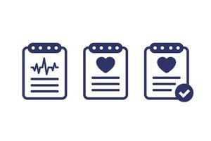 cardiogram, heart diagnosis report, cardio test vector icons on white