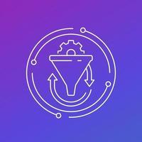 Conversion rate, funnel line vector icon