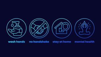 stop coronavirus advices, wash hands, stay at home line icons vector