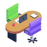 Working Area  and Office Table vector