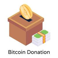 Bitcoin Donation and charity vector