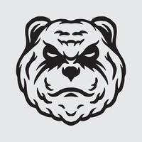 Angry panda drawing vector