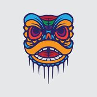 Lion dance drawing vector