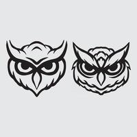 Owl head drawing vector