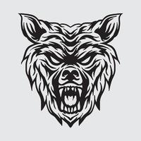 Wolf head drawing vector