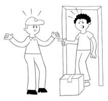 Cartoon courier brings parcel, discusses with customer vector