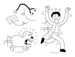 Cartoon dog is very angry and is chasing vet, vector illustration