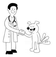 Cartoon vet and dog get along and shake hands, vector illustration