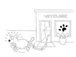 Cartoon dog is scared and runs away from the vet clinic vector