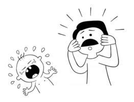 el bebé de dibujos animados está llorando y su padre no sabe qué hacer vector