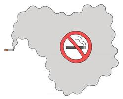 Cartoon smoking cigarette in a no smoking place, vector illustration
