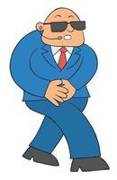 Cartoon burly bodyguard man walking, vector illustration.