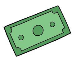 dibujos animados de un papel moneda, ilustración vectorial vector