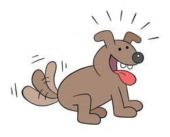 caricatura, el perro está muy emocionado y mueve la cola, ilustración vectorial vector