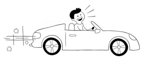 Cartoon man driving luxury convertible car, vector illustration