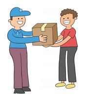 Cartoon courier brings the parcel, the customer receives the parcel vector