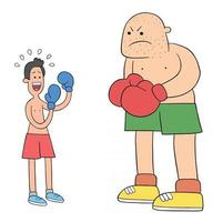 Cartoon two boxers in the ring, one weak and afraid vector