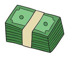 Cartoon bunch of money, vector illustration