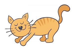 Cartoon cat is stretching, vector illustration