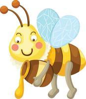 Ilustración de abeja de dibujos animados aislado vector