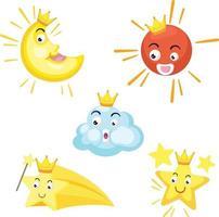 Illustration of isolated set of celestial .sun, moon, star,cloud vector