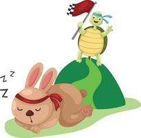 Illustration of turtle and rabbit running a race vector
