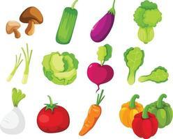 Collection vegetables set illustration vector