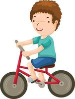 Young boy riding a bicycle illustration vector