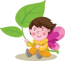 Fairy elf with wings undet leafe vector