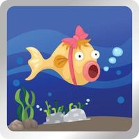 Ilustración de un fondo submarino de peces vector
