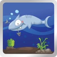 Ilustración de un fondo submarino de tiburones vector